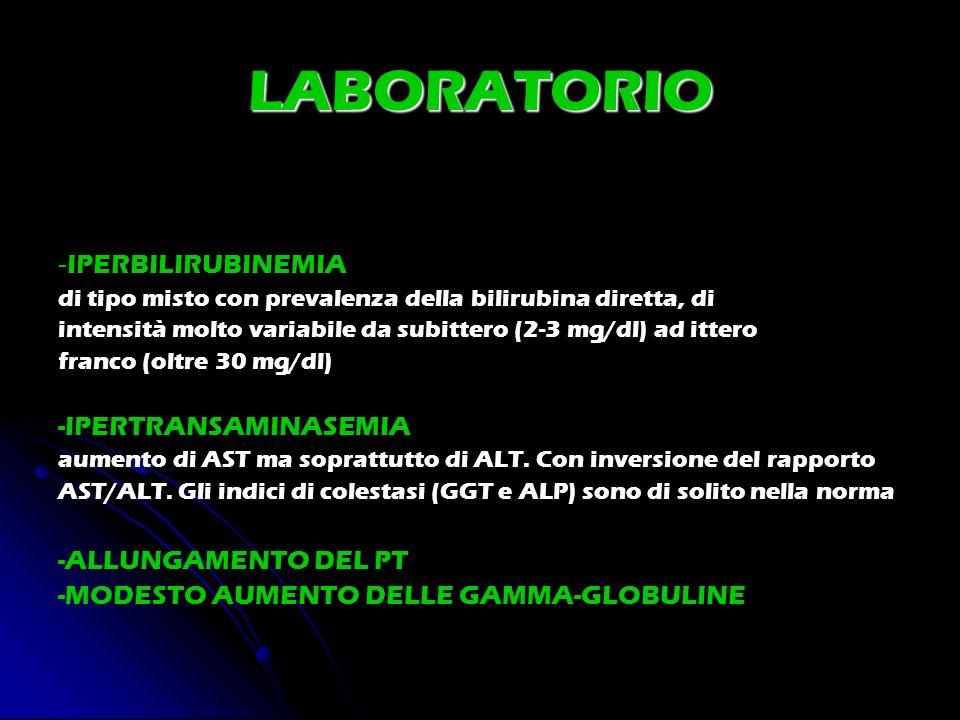 LABORATORIO - IPERBILIRUBINEMIA di tipo misto con prevalenza della bilirubina diretta, di intensità molto variabile da subittero (2-3 mg/dl) ad ittero