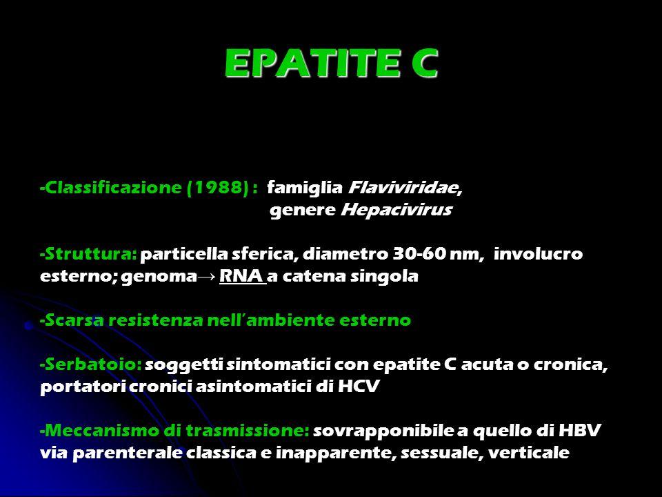 -Classificazione (1988) : famiglia Flaviviridae, genere Hepacivirus -Struttura: particella sferica, diametro 30-60 nm, involucro esterno; genoma RNA a