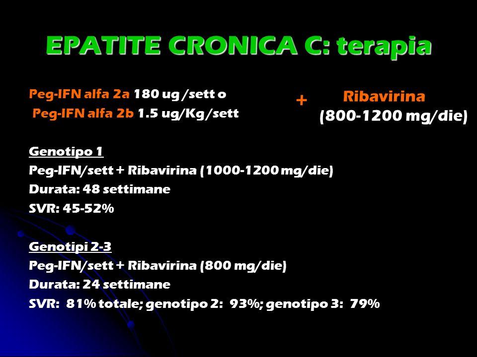 EPATITE CRONICA C: terapia Peg-IFN alfa 2a 180 ug /sett o Peg-IFN alfa 2b 1.5 ug/Kg /sett Genotipo 1 Peg-IFN/sett + Ribavirina (1000-1200 mg/die) Dura