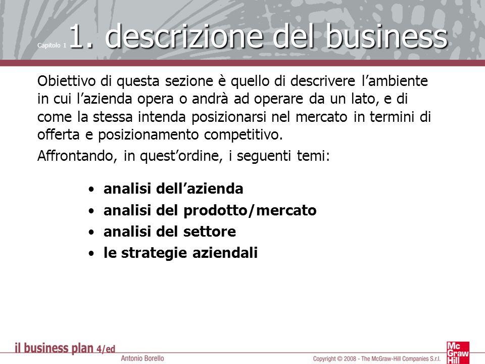 1. descrizione del business Capitolo 1 1. descrizione del business Obiettivo di questa sezione è quello di descrivere lambiente in cui lazienda opera