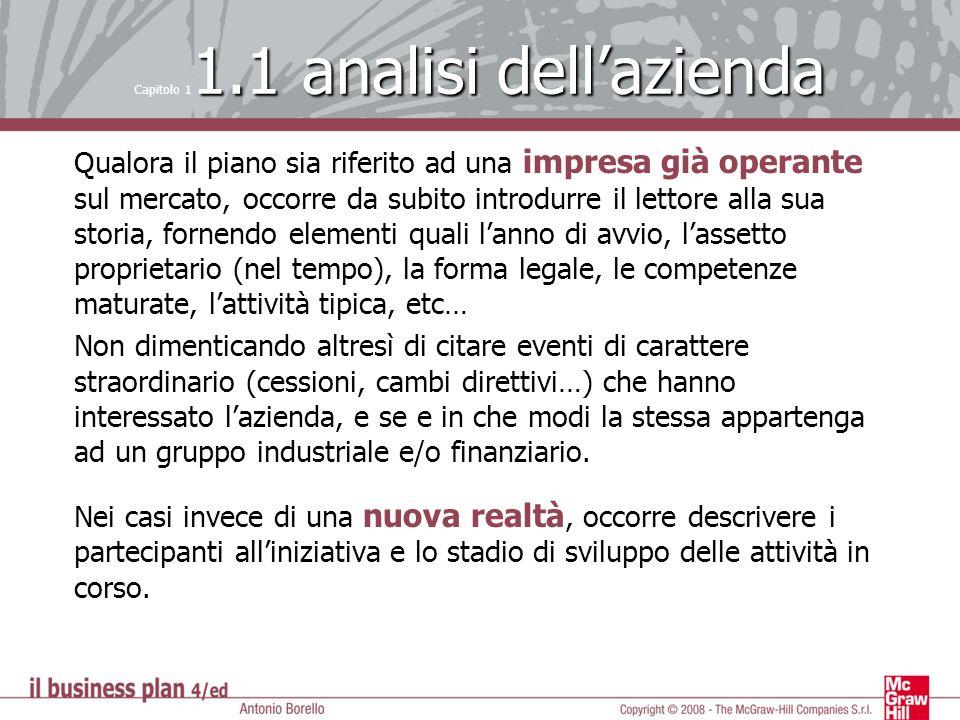 1.1 analisi dellazienda Capitolo 1 1.1 analisi dellazienda Qualora il piano sia riferito ad una impresa già operante sul mercato, occorre da subito in