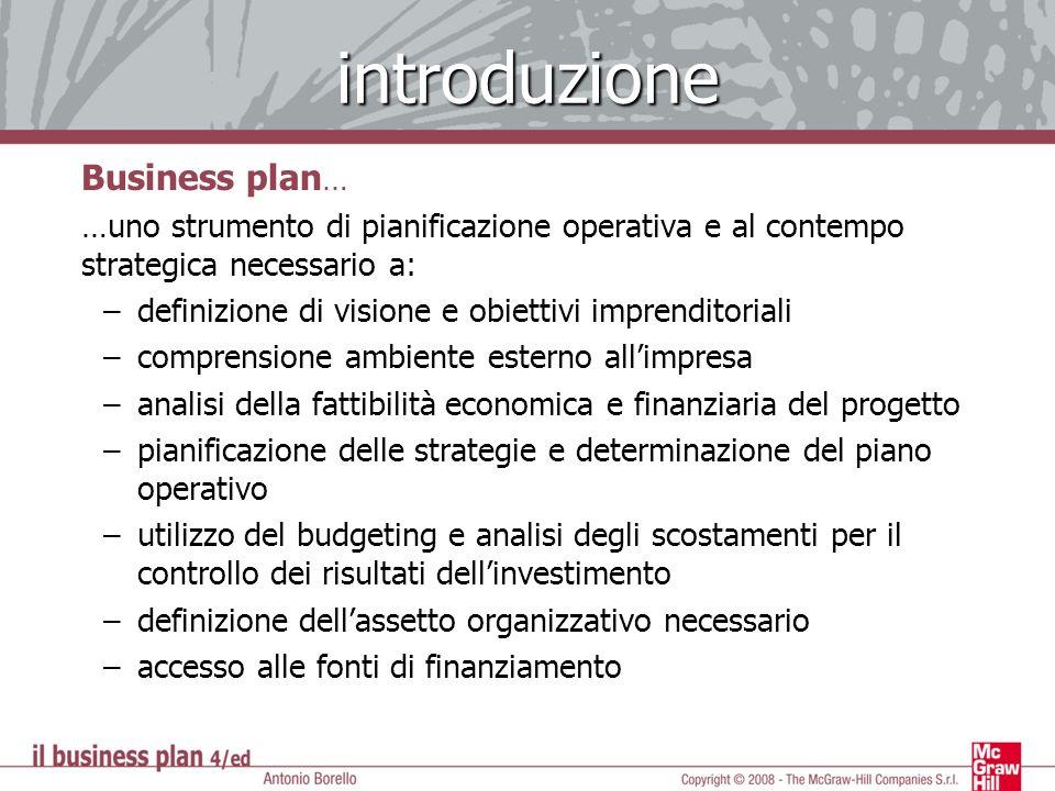 introduzione Business plan … …uno strumento di pianificazione operativa e al contempo strategica necessario a: –definizione di visione e obiettivi imp