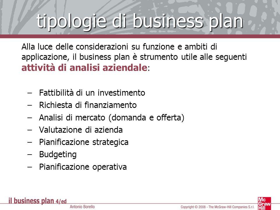 tipologie di business plan Alla luce delle considerazioni su funzione e ambiti di applicazione, il business plan è strumento utile alle seguenti attiv