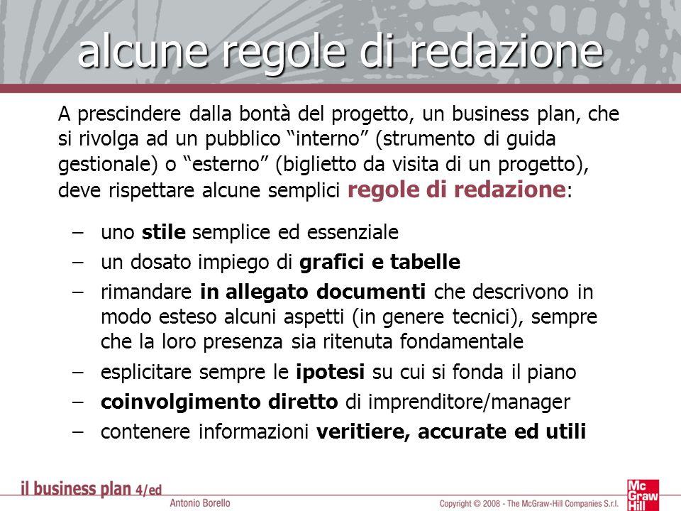 alcune regole di redazione A prescindere dalla bontà del progetto, un business plan, che si rivolga ad un pubblico interno (strumento di guida gestion