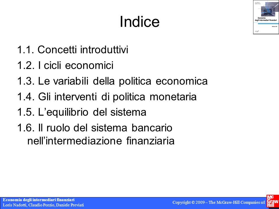 Economia degli intermediari finanziari Loris Nadotti, Claudio Porzio, Daniele Previati Copyright © 2009 – The McGraw-Hill Companies srl Indice 1.1.
