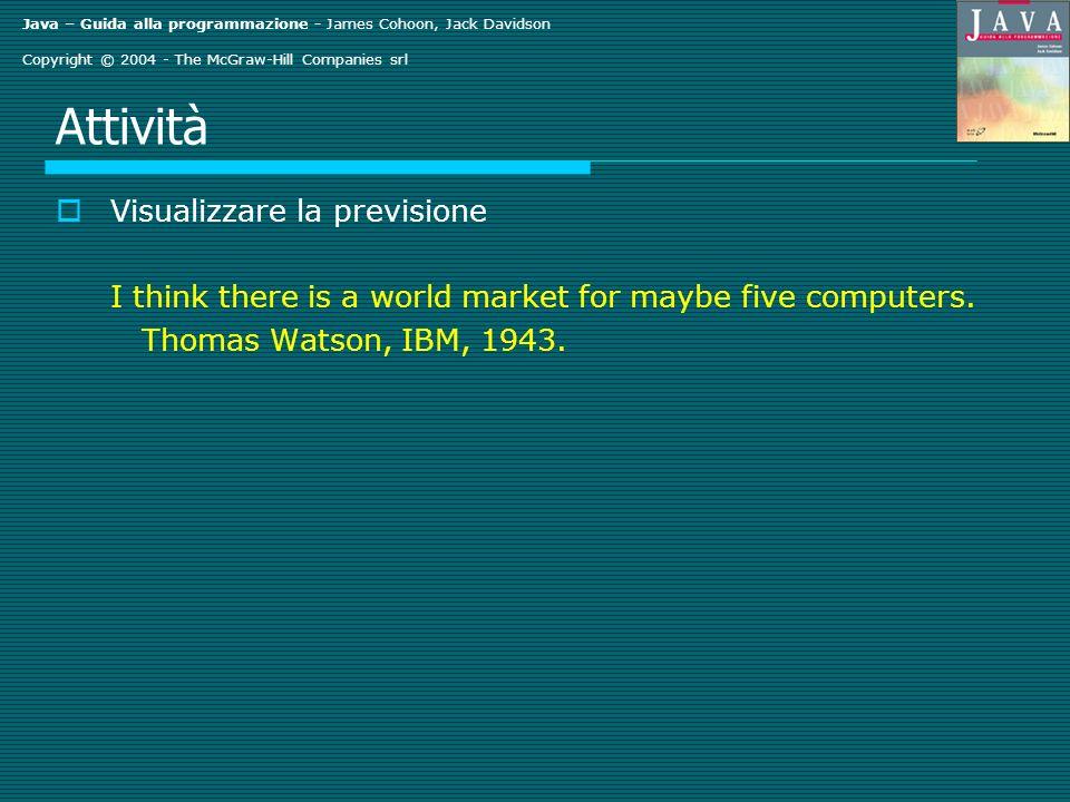 Java – Guida alla programmazione - James Cohoon, Jack Davidson Copyright © 2004 - The McGraw-Hill Companies srl Output dell esempio