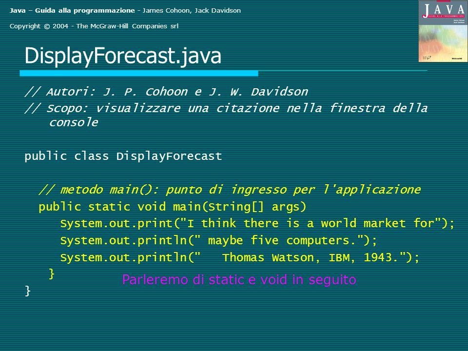 Java – Guida alla programmazione - James Cohoon, Jack Davidson Copyright © 2004 - The McGraw-Hill Companies srl DisplayForecast.java // Autori: J.