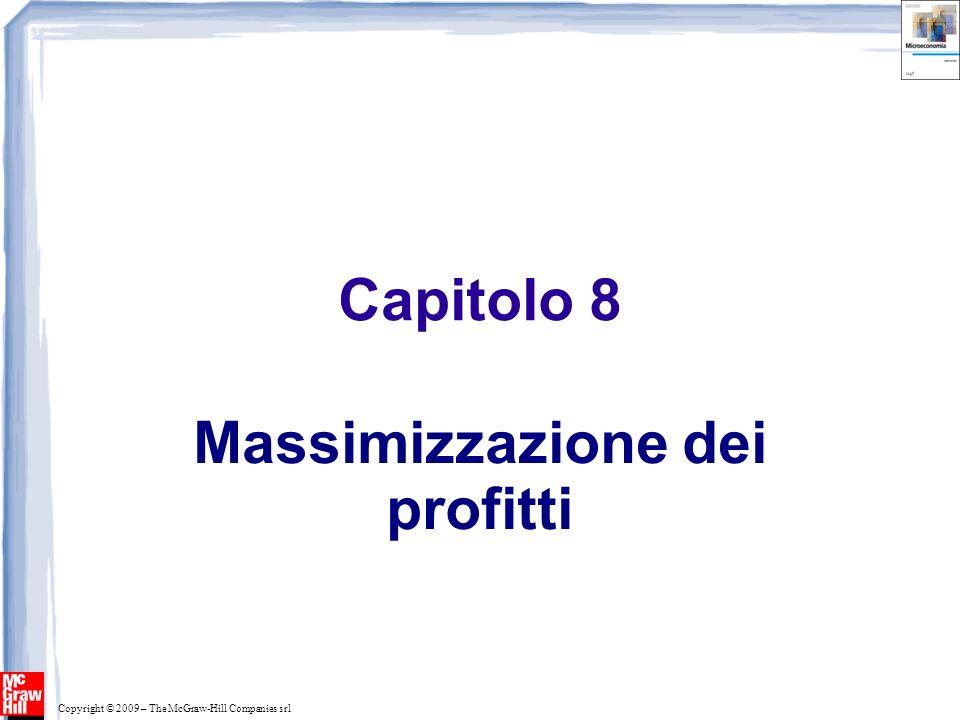 Per massimizzare il profitto: occorre trovare il livello di produzione che rende massima la differenza fra ricavi e costi 0 Costo, Ricavo, Profitto (euro annui) Q R(q) A q0q0 50 La massimizzazione del profitto C(Q) R(Q) 5000 7500 2500