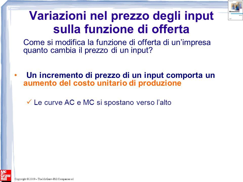 Copyright © 2009 – The McGraw-Hill Companies srl Variazioni nel prezzo degli input sulla funzione di offerta Come si modifica la funzione di offerta d