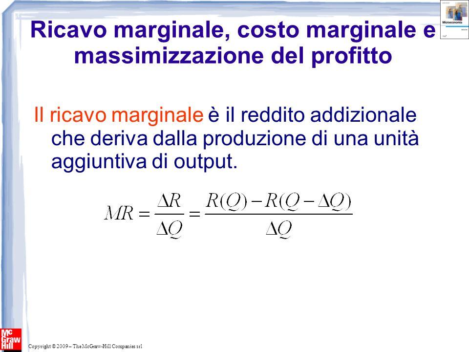 Copyright © 2009 – The McGraw-Hill Companies srl Il ricavo marginale è il reddito addizionale che deriva dalla produzione di una unità aggiuntiva di o