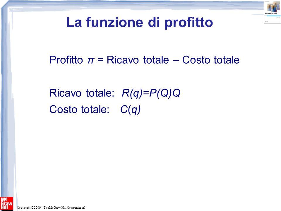 Copyright © 2009 – The McGraw-Hill Companies srl La funzione di profitto Profitto π = Ricavo totale – Costo totale Ricavo totale: R(q)=P(Q)Q Costo totale: C(q) Π(q) = R(q) – C(q)