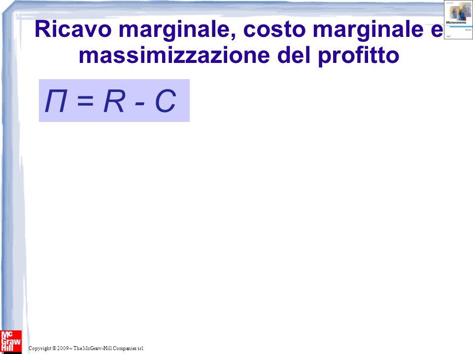 Copyright © 2009 – The McGraw-Hill Companies srl Ricavo marginale, costo marginale e massimizzazione del profitto Π = R - C