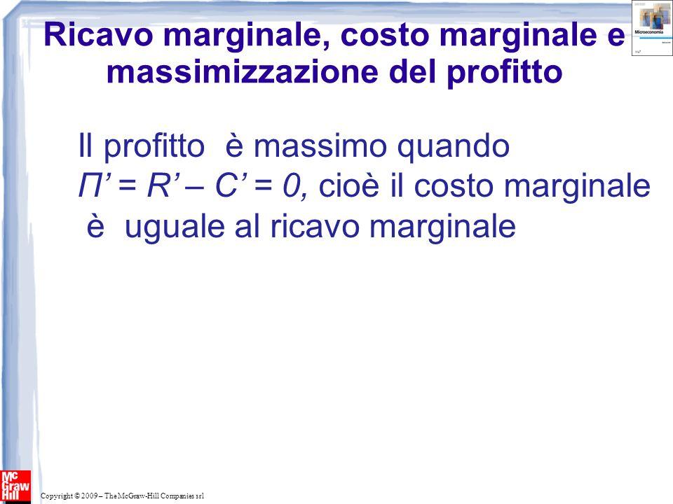 Copyright © 2009 – The McGraw-Hill Companies srl Ricavo marginale, costo marginale e massimizzazione del profitto Il profitto è massimo quando Π = R –