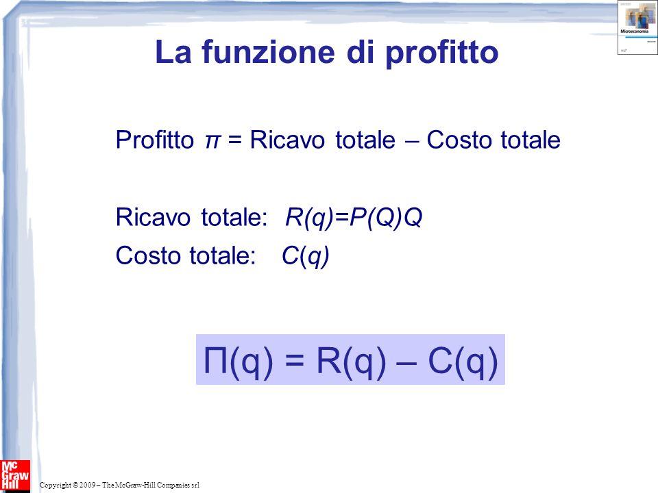 Copyright © 2009 – The McGraw-Hill Companies srl I ricavi totali: R(Q) 0 Ricavo Output (unità annue) R(q) Ricavo totale Pendenza R(q) = R Output, Q