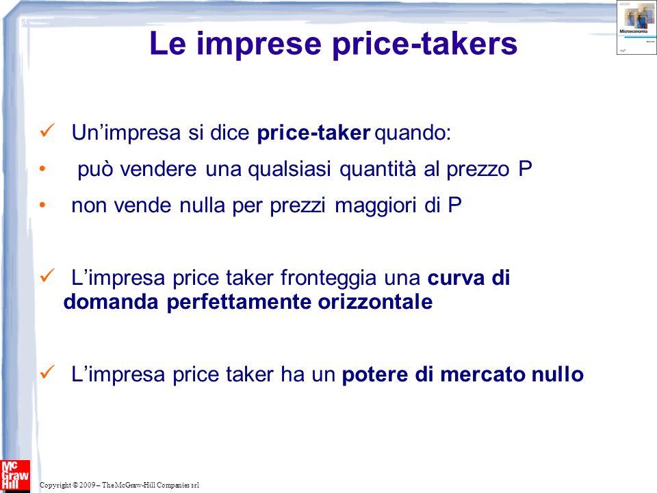 Copyright © 2009 – The McGraw-Hill Companies srl Le imprese price-takers Unimpresa si dice price-taker quando: può vendere una qualsiasi quantità al p