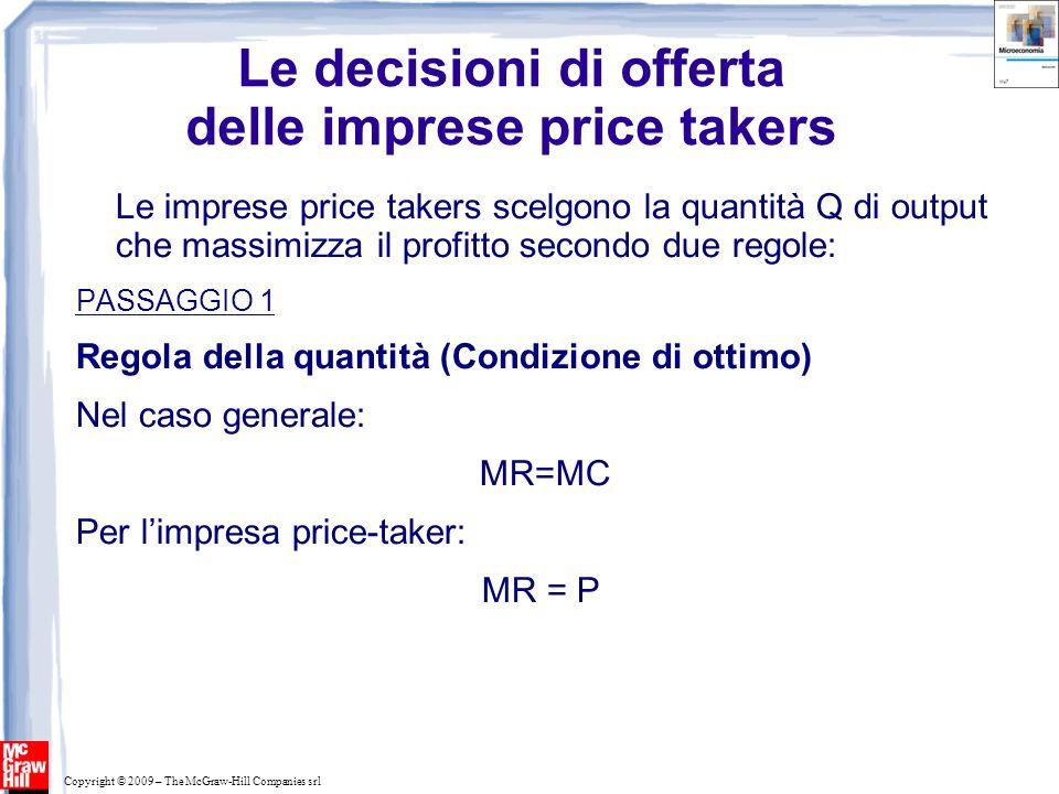 Copyright © 2009 – The McGraw-Hill Companies srl Le decisioni di offerta delle imprese price takers Le imprese price takers scelgono la quantità Q di