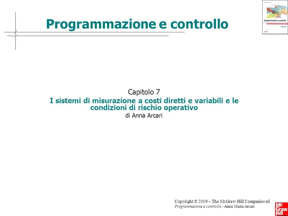 Copyright © 2009 – The McGraw-Hill Companies srl Programmazione e controllo - Anna Maria Arcari Capitolo 7 I sistemi di misurazione a costi diretti e