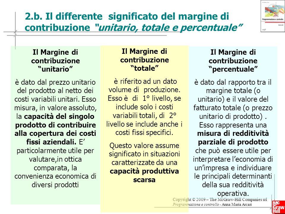10 Copyright © 2009 – The McGraw-Hill Companies srl Programmazione e controllo - Anna Maria Arcari 2.b. Il differente significato del margine di contr