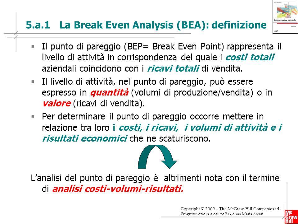 15 Copyright © 2009 – The McGraw-Hill Companies srl Programmazione e controllo - Anna Maria Arcari 5.a.1 La Break Even Analysis (BEA): definizione Il