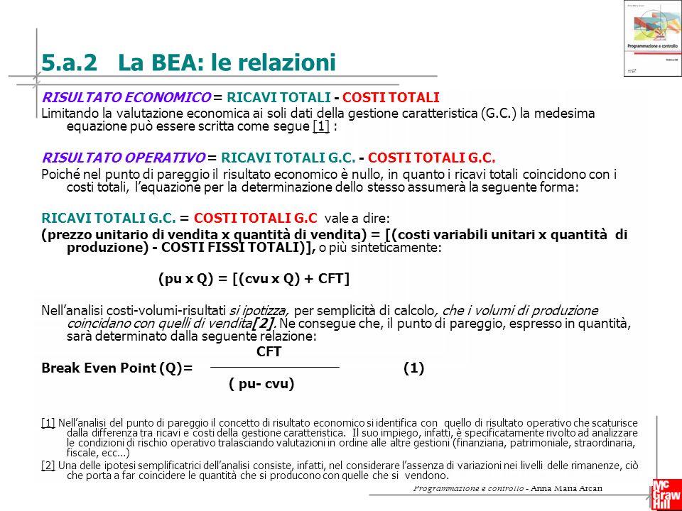 16 Copyright © 2009 – The McGraw-Hill Companies srl Programmazione e controllo - Anna Maria Arcari 5.a.2 La BEA: le relazioni RISULTATO ECONOMICO = RICAVI TOTALI - COSTI TOTALI Limitando la valutazione economica ai soli dati della gestione caratteristica (G.C.) la medesima equazione può essere scritta come segue [1] :[1] RISULTATO OPERATIVO = RICAVI TOTALI G.C.