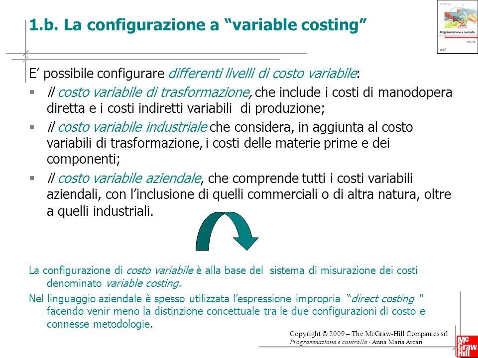 8 Copyright © 2009 – The McGraw-Hill Companies srl Programmazione e controllo - Anna Maria Arcari 1.b. La configurazione a variable costing E possibil