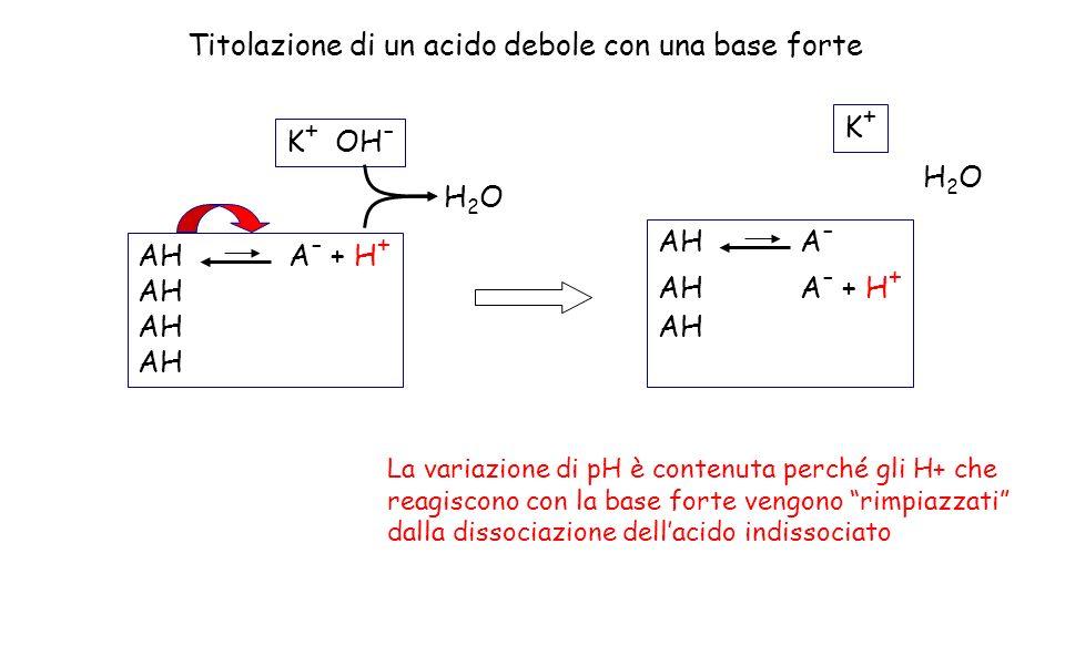 K + OH - AH A - + H + AH H2OH2O Titolazione di un acido debole con una base forte La variazione di pH è contenuta perché gli H+ che reagiscono con la