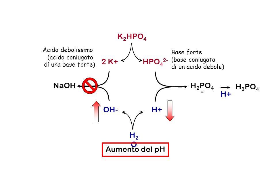 K 2 HPO 4 2 K+HPO 4 2- OH- H+ H2OH2O Base forte (base coniugata di un acido debole) Acido debolissimo (acido coniugato di una base forte) H 2 PO 4 - N