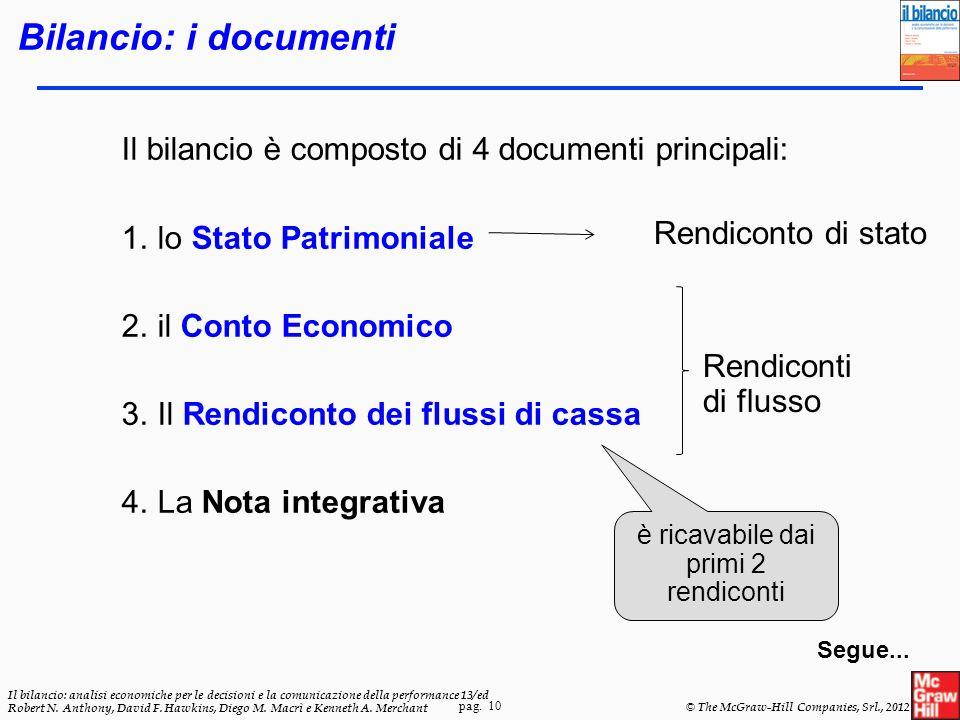 pag. 10 Il bilancio: analisi economiche per le decisioni e la comunicazione della performance 13/ed Robert N. Anthony, David F. Hawkins, Diego M. Macr