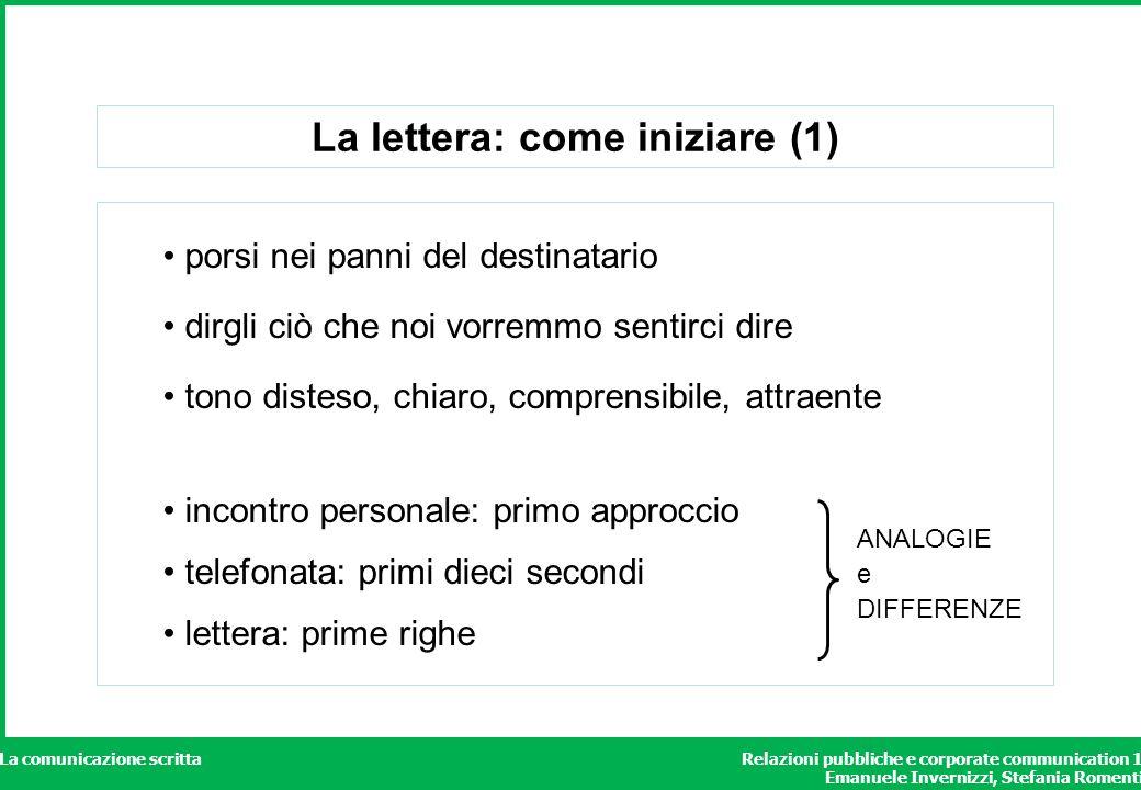Relazioni pubbliche e corporate communication 1 Emanuele Invernizzi, Stefania Romenti La comunicazione scritta La lettera: come iniziare (1) porsi nei