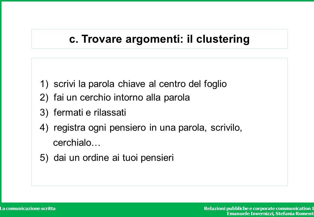 Relazioni pubbliche e corporate communication 1 Emanuele Invernizzi, Stefania Romenti La comunicazione scritta c. Trovare argomenti: il clustering 1)