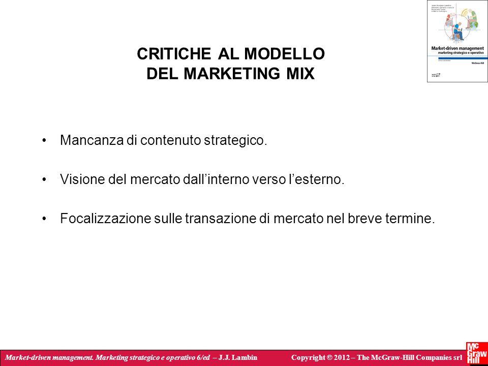 Market-driven management. Marketing strategico e operativo 6/ed – J.J. LambinCopyright © 2012 – The McGraw-Hill Companies srl CRITICHE AL MODELLO DEL