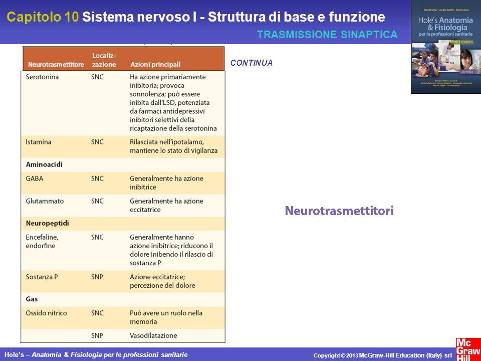 Capitolo 10 Sistema nervoso I - Struttura di base e funzione Holes – Anatomia & Fisiologia per le professioni sanitarie Copyright © 2013 McGraw-Hill Education (Italy) srl TRASMISSIONE SINAPTICA CONTINUA