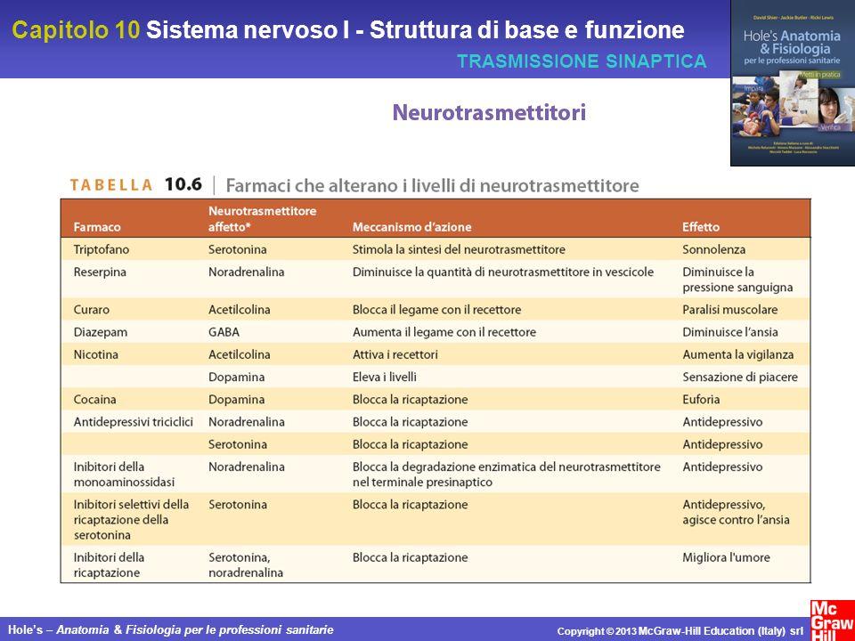 Capitolo 10 Sistema nervoso I - Struttura di base e funzione Holes – Anatomia & Fisiologia per le professioni sanitarie Copyright © 2013 McGraw-Hill Education (Italy) srl TRASMISSIONE SINAPTICA