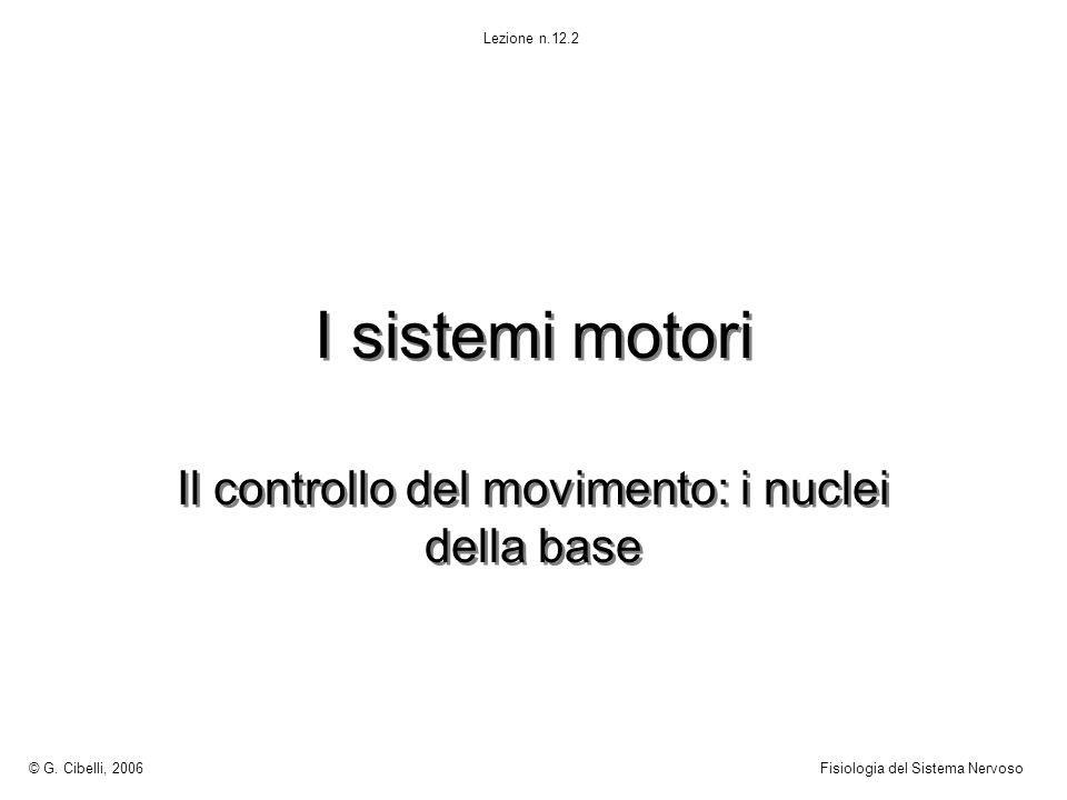 I sistemi motori Il controllo del movimento: i nuclei della base © G. Cibelli, 2006Fisiologia del Sistema Nervoso Lezione n.12.2
