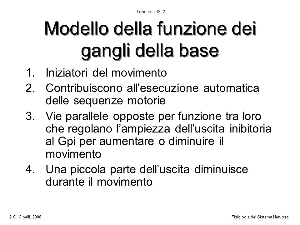Modello della funzione dei gangli della base 1.Iniziatori del movimento 2.Contribuiscono allesecuzione automatica delle sequenze motorie 3.Vie paralle