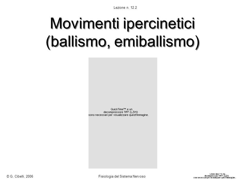 Movimenti ipercinetici (ballismo, emiballismo) © G. Cibelli, 2006 Fisiologia del Sistema Nervoso Lezione n. 12.2