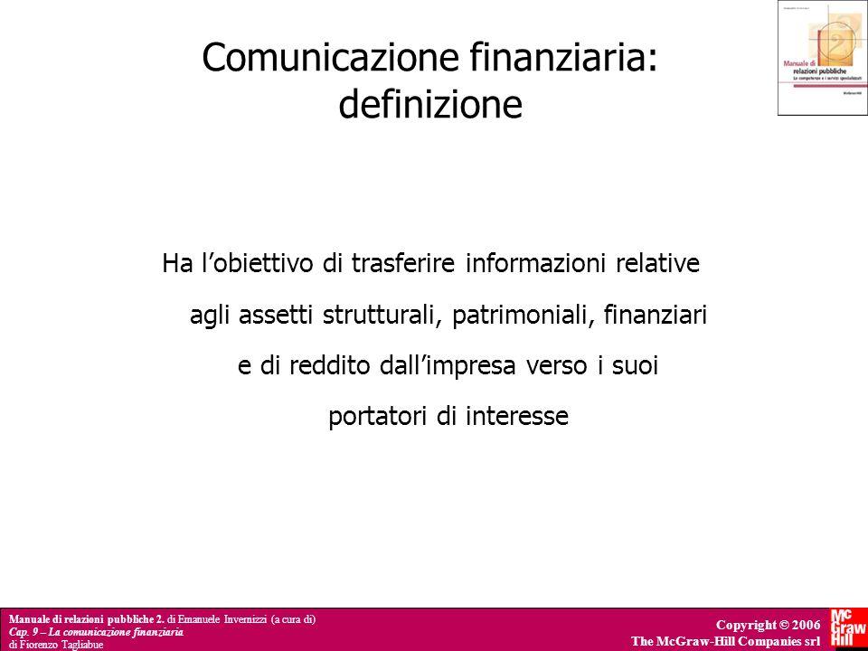 Manuale di relazioni pubbliche 2. di Emanuele Invernizzi (a cura di) Cap. 9 – La comunicazione finanziaria di Fiorenzo Tagliabue Copyright © 2006 The