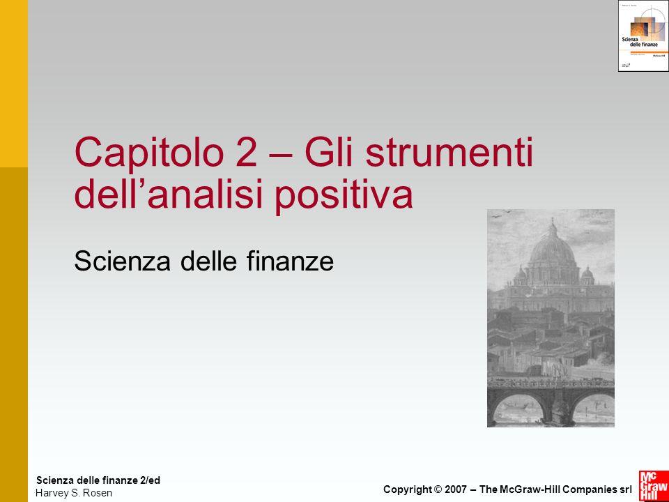 Scienza delle finanze 2/ed Harvey S. Rosen Copyright © 2007 – The McGraw-Hill Companies srl Capitolo 2 – Gli strumenti dellanalisi positiva Scienza de