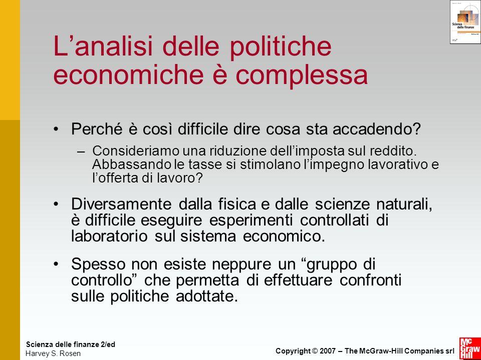 Scienza delle finanze 2/ed Harvey S. Rosen Copyright © 2007 – The McGraw-Hill Companies srl Lanalisi delle politiche economiche è complessa Perché è c