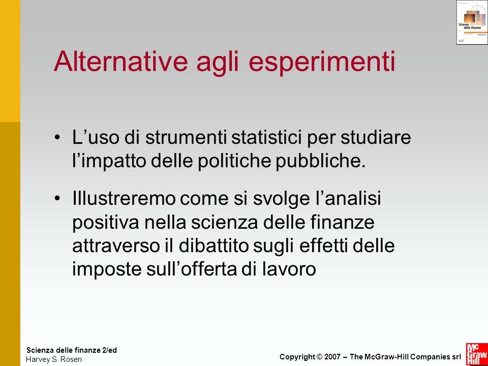 Scienza delle finanze 2/ed Harvey S. Rosen Copyright © 2007 – The McGraw-Hill Companies srl Alternative agli esperimenti Luso di strumenti statistici