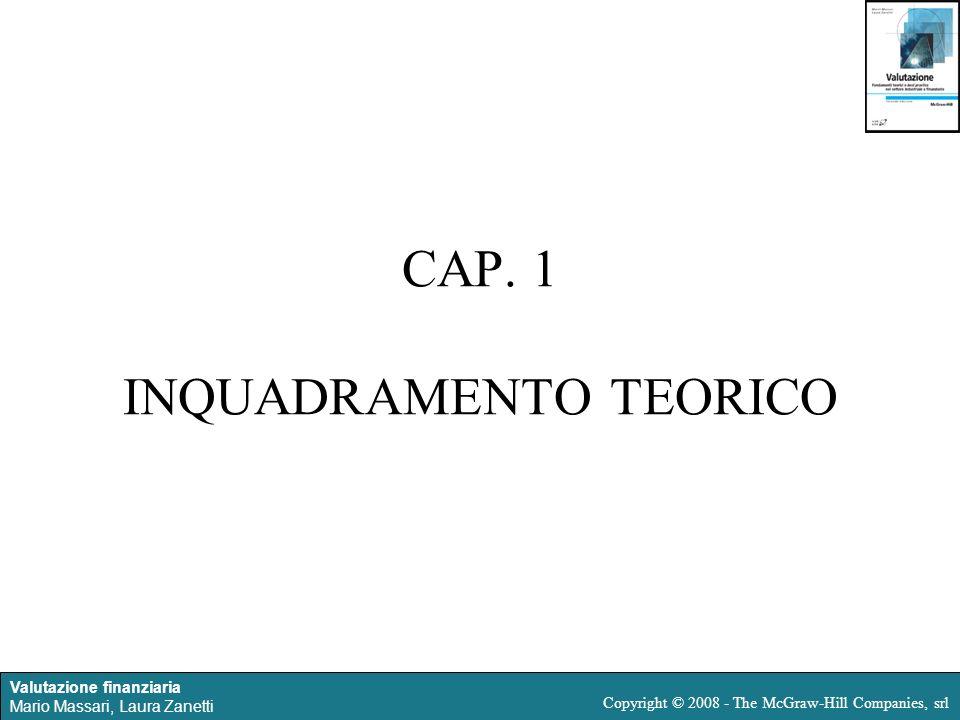 Valutazione finanziaria Mario Massari, Laura Zanetti Copyright © 2008 - The McGraw-Hill Companies, srl CAP. 1 INQUADRAMENTO TEORICO