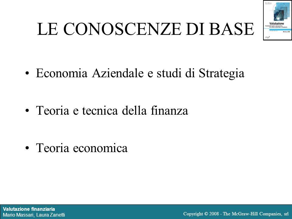 Valutazione finanziaria Mario Massari, Laura Zanetti Copyright © 2008 - The McGraw-Hill Companies, srl LE CONOSCENZE DI BASE Economia Aziendale e stud