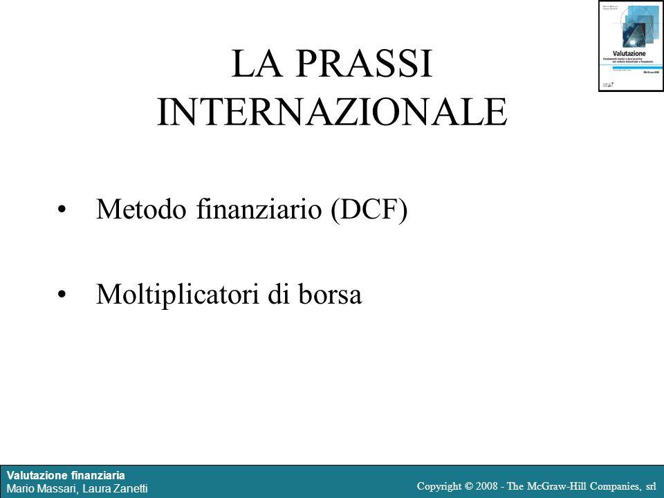 Valutazione finanziaria Mario Massari, Laura Zanetti Copyright © 2008 - The McGraw-Hill Companies, srl LA PRASSI INTERNAZIONALE Metodo finanziario (DC