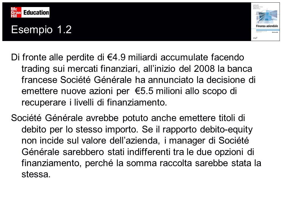 Esempio 1.2 Di fronte alle perdite di 4.9 miliardi accumulate facendo trading sui mercati finanziari, allinizio del 2008 la banca francese Société Gén