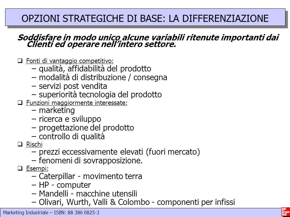 Marketing Industriale – ISBN: 88 386 0825-3 10 Soddisfare in modo unico alcune variabili ritenute importanti dai Clienti ed operare nellintero settore