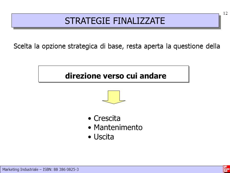 Marketing Industriale – ISBN: 88 386 0825-3 12 STRATEGIE FINALIZZATE Scelta la opzione strategica di base, resta aperta la questione della direzione v