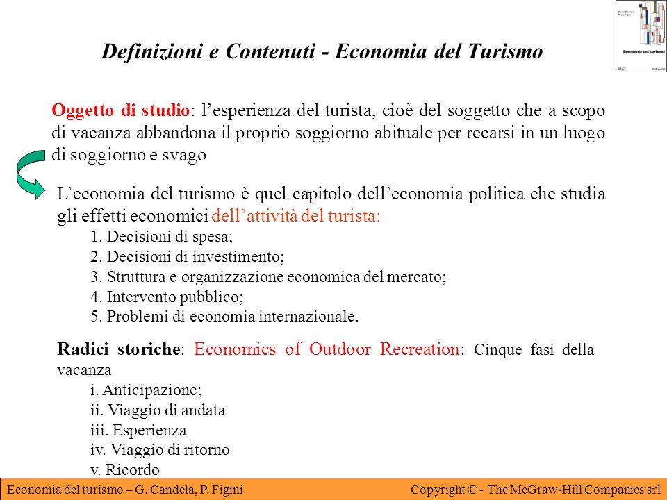 Economia del turismo – G. Candela, P. FiginiCopyright © - The McGraw-Hill Companies srl Definizioni e Contenuti - Economia del Turismo Oggetto di stud