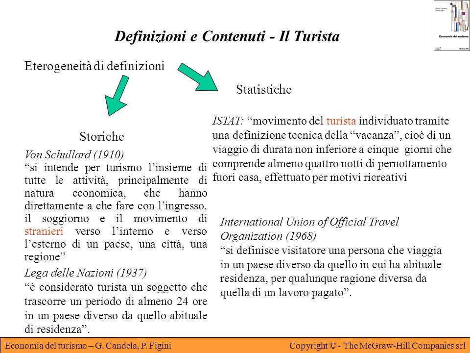 Economia del turismo – G. Candela, P. FiginiCopyright © - The McGraw-Hill Companies srl Definizioni e Contenuti - Il Turista Eterogeneità di definizio