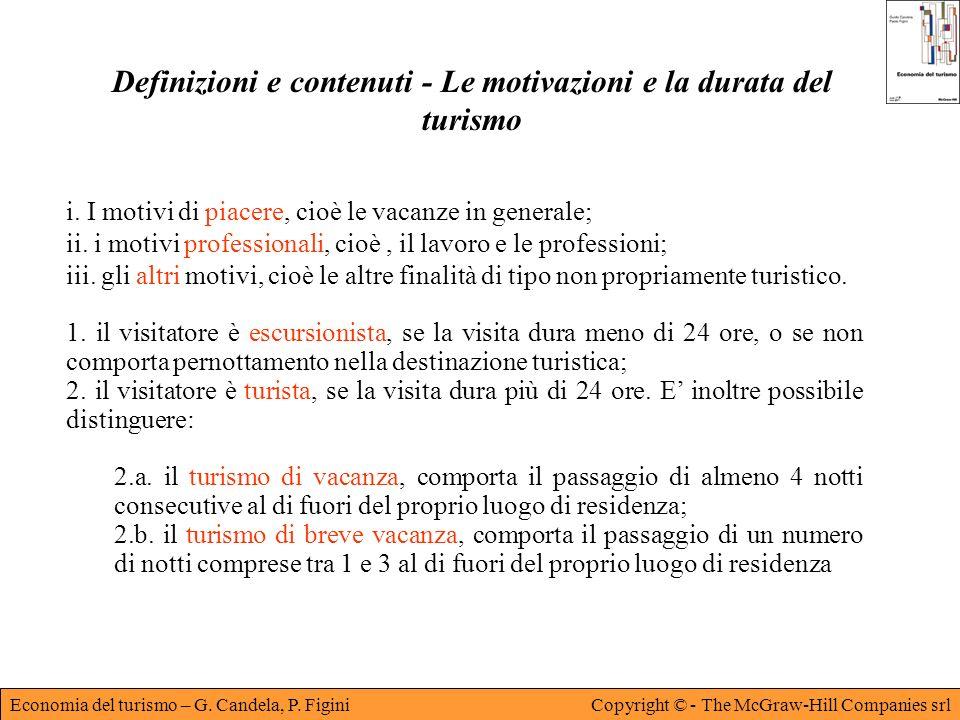 Economia del turismo – G. Candela, P. FiginiCopyright © - The McGraw-Hill Companies srl Definizioni e contenuti - Le motivazioni e la durata del turis