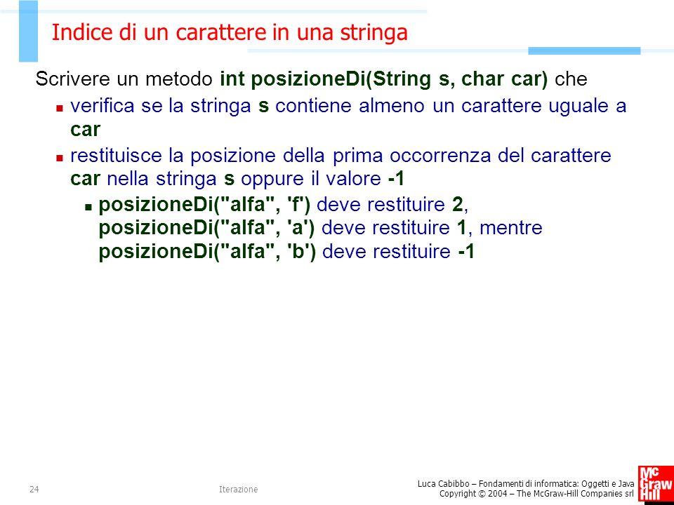 Luca Cabibbo – Fondamenti di informatica: Oggetti e Java Copyright © 2004 – The McGraw-Hill Companies srl Iterazione24 Indice di un carattere in una stringa Scrivere un metodo int posizioneDi(String s, char car) che verifica se la stringa s contiene almeno un carattere uguale a car restituisce la posizione della prima occorrenza del carattere car nella stringa s oppure il valore -1 posizioneDi( alfa , f ) deve restituire 2, posizioneDi( alfa , a ) deve restituire 1, mentre posizioneDi( alfa , b ) deve restituire -1